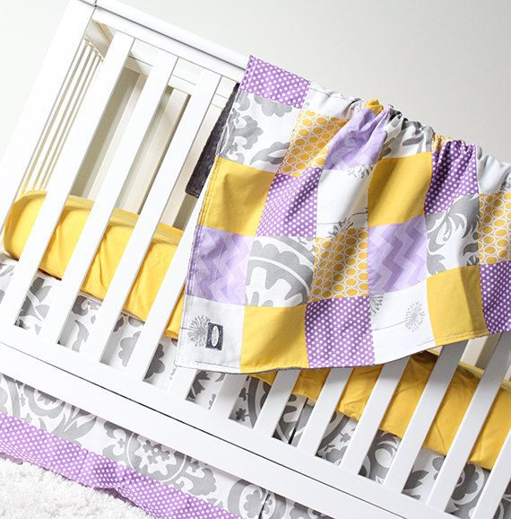 Hey, I found this really awesome Etsy listing at https://www.etsy.com/listing/254079731/yellow-and-purple-crib-bedding-set