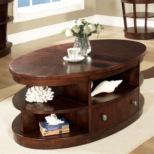 Amazing Somerton Montecito Oval Coffee Table In Warm Medium Brown