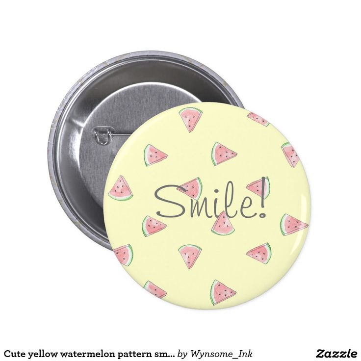 Cute yellow watermelon pattern smile pin