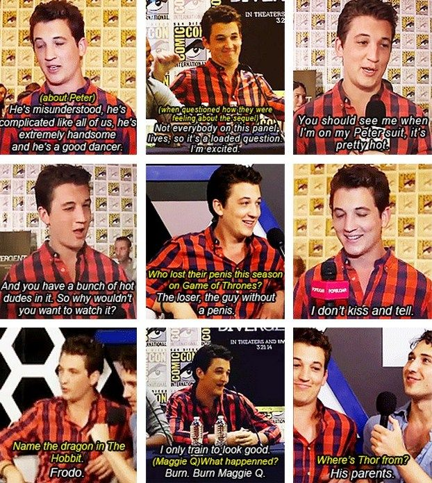 Miles Teller at Comic-Con promoting Divergent.