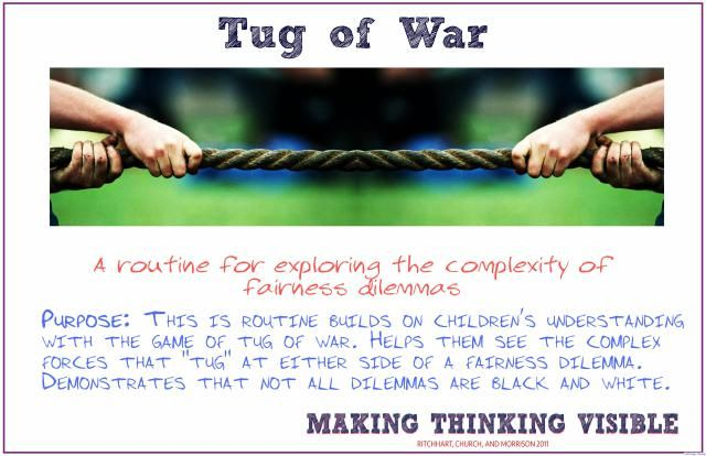 Tug of War Visible Thinking Routine - DEEP design thinking