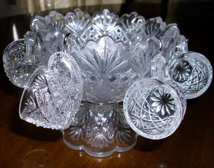 ANTIQUE  THUMBELINA Small Punch Bowl Set by WESTMORELAND # 301!  All Original Six Cups are Included!  Flattened Diamond & Sunburst Pattern! by GraysideCottage on Etsy