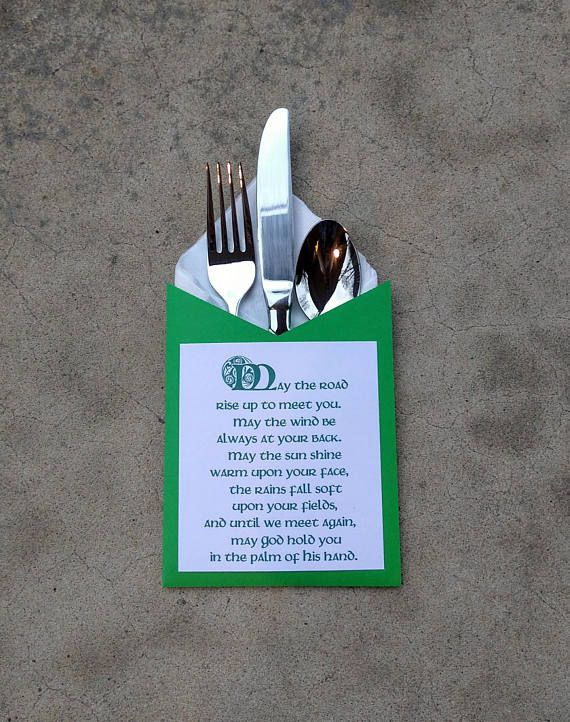 Celebrate the beauty of an Irish heritage with these unique silverware/napkin holders. Text reads a traditional Irish prayer that will encourage and bless your guests. Text is printed in green ink and holders are cut from spring green cardstock. The holders are spacious enough to