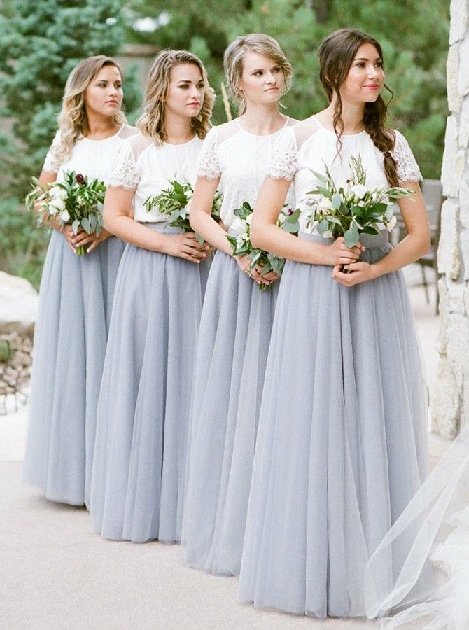 64e597f56c Two Piece Round Neck Grey Tulle Bridesmaid Dress with Lace in 2019 ...