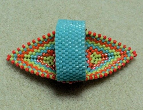 how to make Native American beaded rings | Native American Beaded Ring in Lime, Orange and Turquoise | jstinson ...