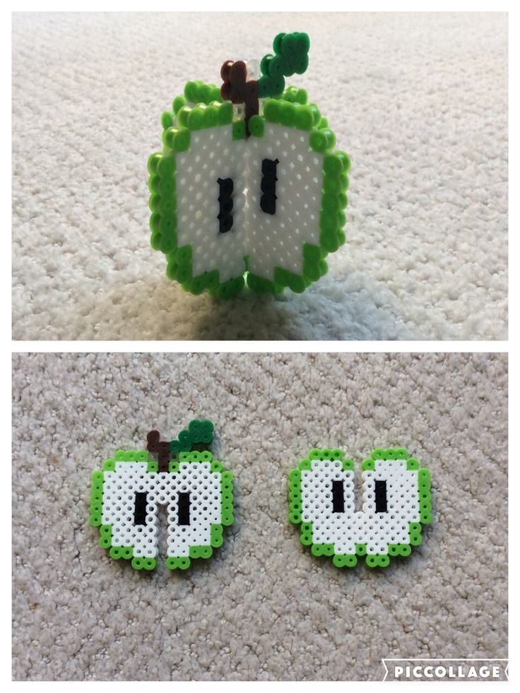 Perler beads green 3-D apple