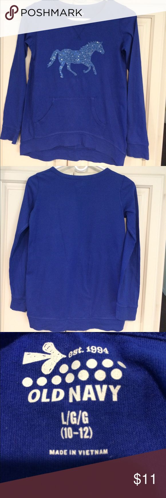 Girls Old Navy Long Sleeve Top L(10-12) Horse Girls Old Navy Long Sleeve Top L(10-12) Blue with Horse sequin Design on front Old Navy Shirts & Tops Tees - Long Sleeve