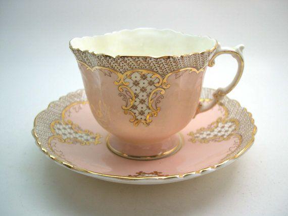Vintage Aynsley Peach Tea Cup And Saucer, Aynsley Peach and Gold Teacup, Textured tea cup set.