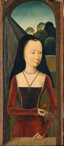 Young Woman with a Pink Artist: Attributed to Hans Memling (Netherlandish, Seligenstadt, active by 1465–died 1494 Bruges) Date: ca. 1485–90 Medium: Oil on wood Dimensions: Overall 17 x 7 3/8 in. (43.2 x 18.7 cm); painted surface 17 x 6 7/8 in. (43.2 x 17.5 cm)