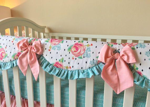 crib rail covers watercolor floral crib rail cover polka dot rail guard blush
