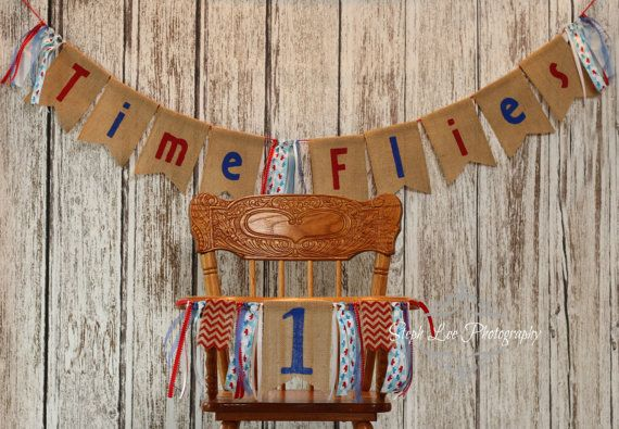 SET Burlap Time Flies Airplane Birthday Banner High Chair Banner, First Birthday, 1st Birthday, Burlap Birthday Banner, Red & Blue Highchair