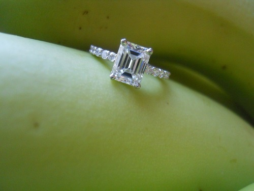 1.26 D VVS1 emerald cut diamond ring