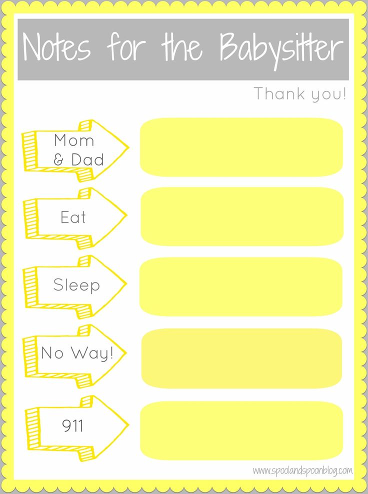 Spool and Spoon: Notes for the Babysitter {Printable} (also, Notes FROM the babysitter printable as well)