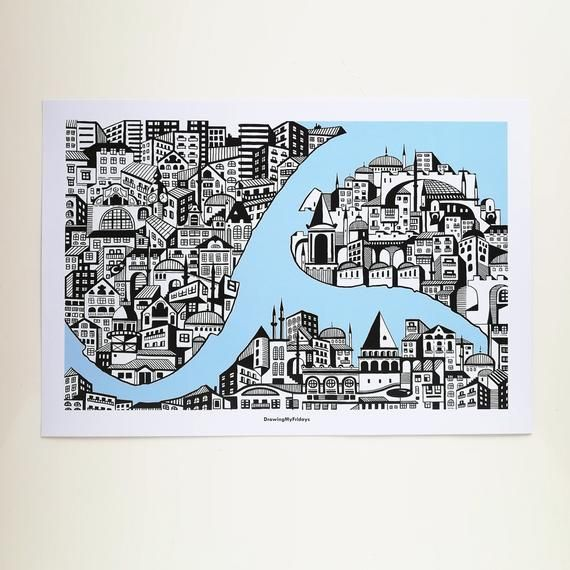 Map of Istanbul Original Art Print A3 Poster Turkey Architectural Marker Sketch Wall Decoration Picture Illustration Travel Urbansketch
