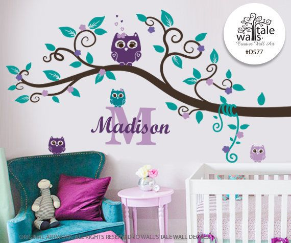 Purple Teal Owl Nursery Wall Decal Name and Initial