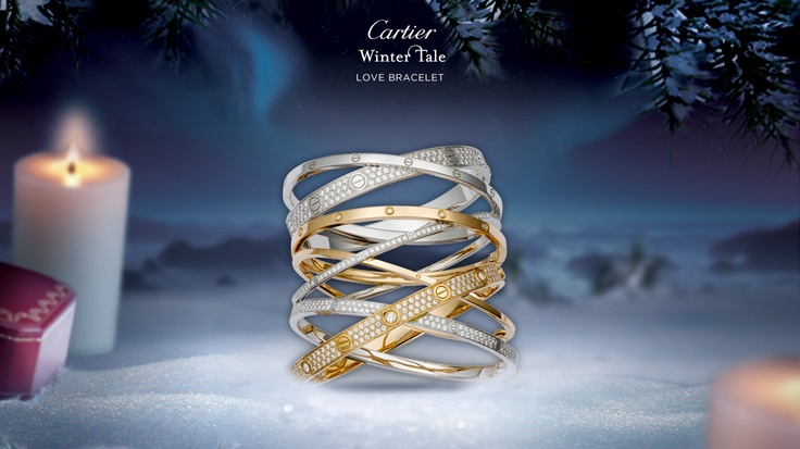 """LOVE BRACELET - by Cartier  PINK AND WHITE GOLD, DIAMONDS  A Cartier icon, the LOVE collection   is both a provocative talisman and a   bold symbol of passionate love. Allow   yourself to become one with your   partner, possess or let yourself be   possessed… How far would you go for LOVE?"""