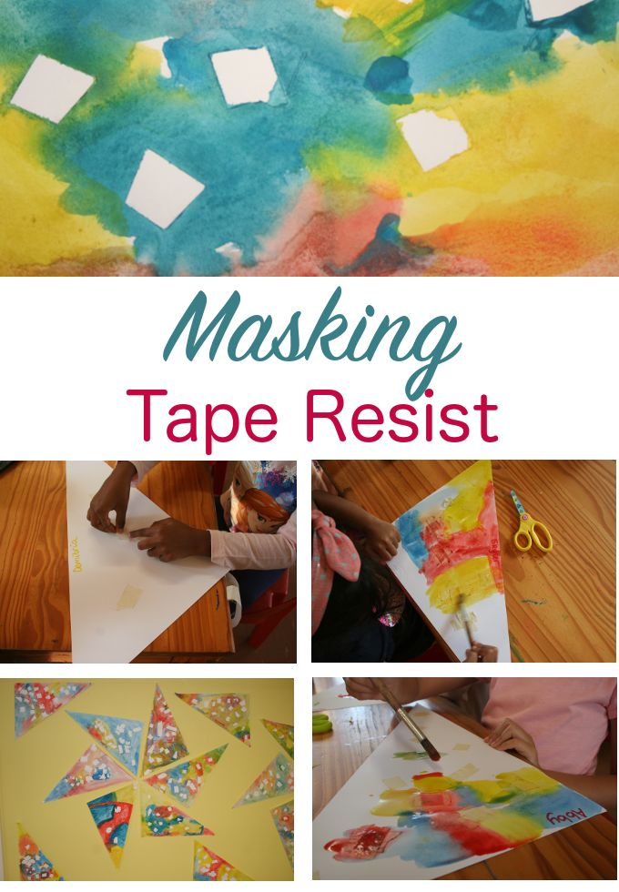 Water colour and masking tape process art activity. Perfect for the preschool classroom.  Good fine motor and art all in one!