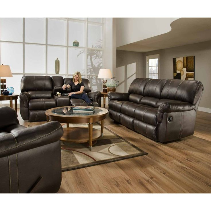 Blackjack Cocoa Bonded Leather Double Reclining Sofa And Loveseat Set Covered In One