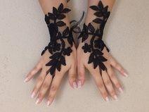 Siyah Düğün eldivenleri fransız dantel eldiven gelinlik gl