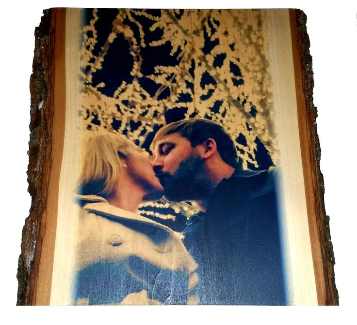 I love this for my engagement pictures! Our picture printed on solid wood with rustic bark edges! #shabbychic # love #vintagewedding