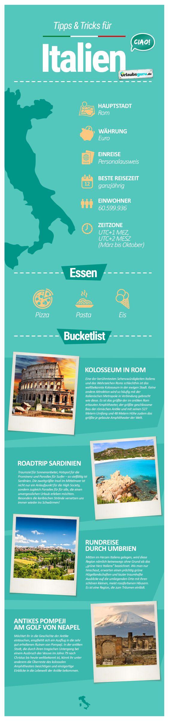 La bella Italia ist einfach immer wieder eine Reise wert. Es scheint, als würde sich hier ein malerischer Ort an den nächsten reihen, traumhafte Inseln und Regionen laden zudem auf einen schönen und abwechslungsreichen Urlaub ein. In meinen Italien Tipps bekommt ihr Inspirationen für euren Urlaub und die besten Infos über angesagte Städte wie Rom, Venedig und Mailand.