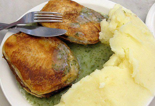 Pie, Mash with green Liquor is an East London speciality. It was  made from scraps from London meat and vegetable markets and in consequence was cheap but nutritious. Green liquor an acquired taste