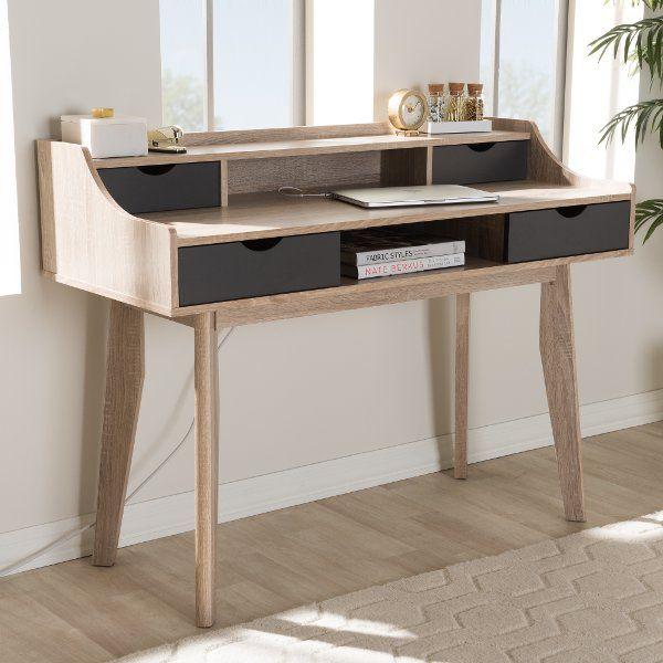 Modern 4 Drawer Oak And Gray Writing Desk Writing Desk Modern