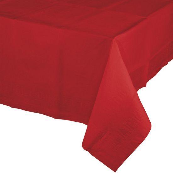 Tafelkleed rood 274 x 137 cm. Een vrolijk rood gekleurd tafellaken voor uw feestelijke tafel! Deze rode tafelkleden zijn gemaakt van papier. Aan de onderzijde is deze met plastic bekleed. Het formaat is ongeveer 274 x 137 cm. Met onze rode bekers en bestek maakt u uw vrolijke tafel helemaal compleet!