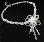 Handmade crystal flower necklace, perfect for weddings, brides or formals