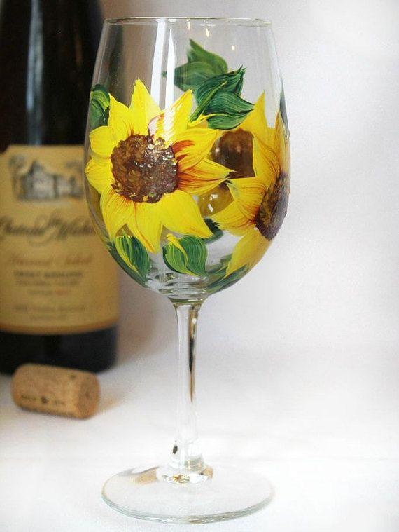 Sunflower Wine Glass- Summer Wine Glass- Hand Painted Wine Glass- Fall Bridal Shower Favors- Wedding Gifts- Fall decor- Sunflower Decor