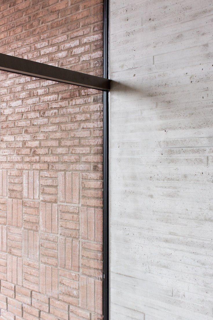 Brick and concrete walls. Saunalahti School by Verstas Architects. Photo by Andreas Meichsner.