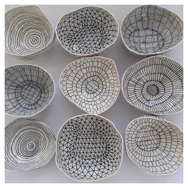 Headed to @shopkoromiko! #porcelain #blackandwhite #bowls #finally