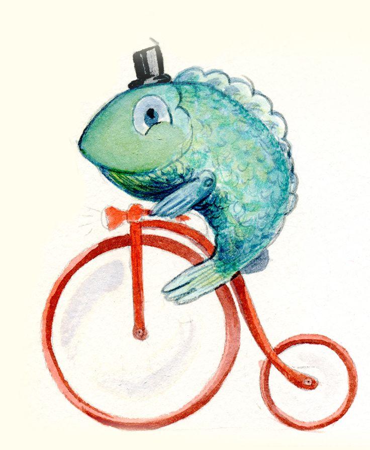 Lápiz, acuarela y absurdez de la buena. Pez con chistera montando en bici, le falta el monóculo. Ilustración creada por Estela Labajo Duque