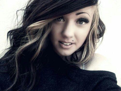 Love her hair. Blonde highlights around face dark hair all over