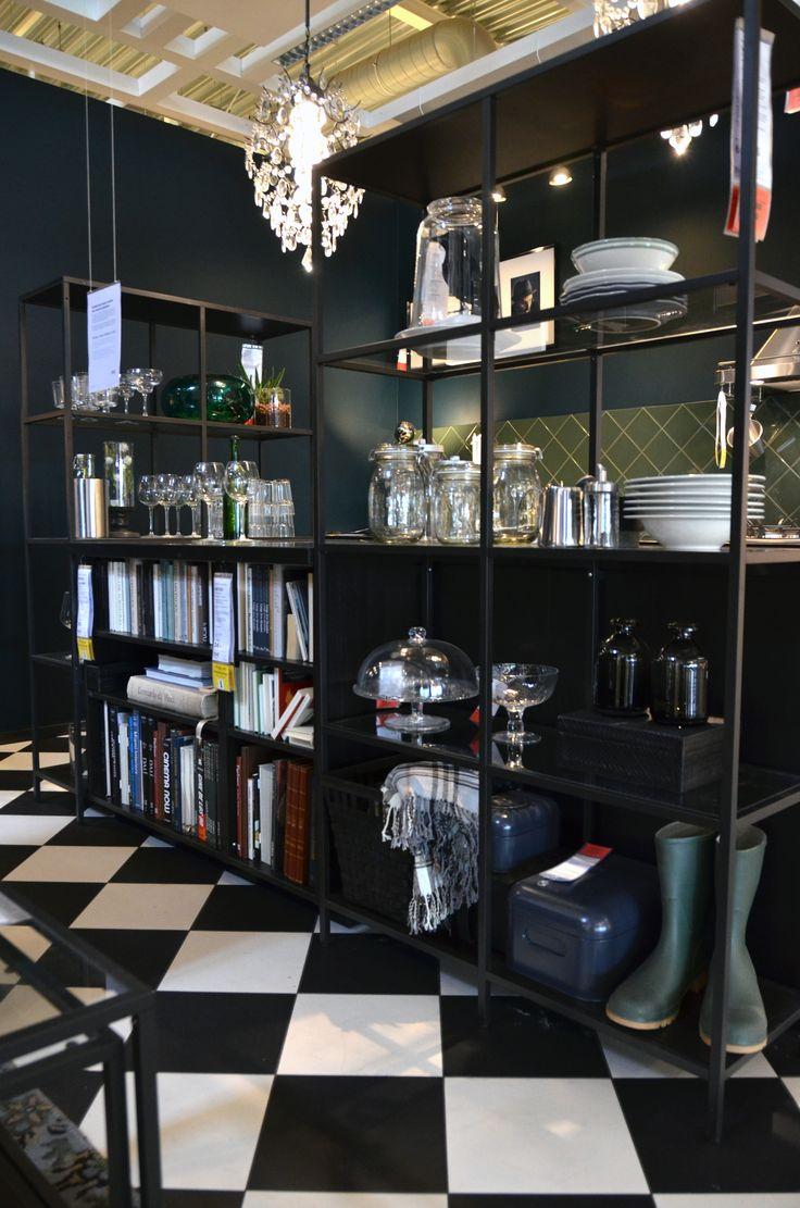 IKEA Delft | METOD kitchen | VITTSJÖ shelving unit | kitchen island | black and white tiles | book storage | dark kitchen