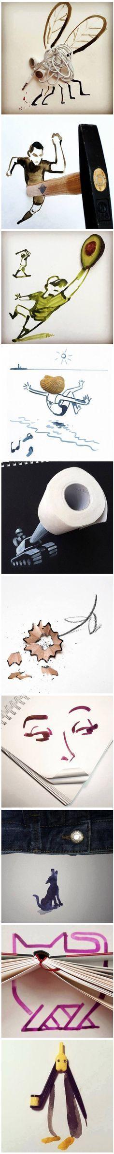 Dibujos divertidos con cosas cotidianas. #humor #risa #graciosas #chistosas #divertidas