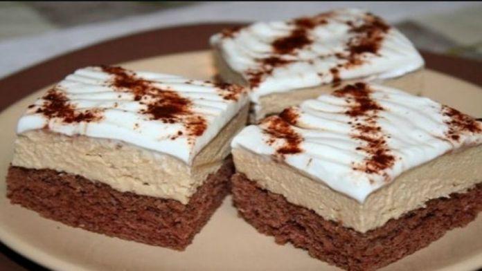 Kávové řezy s krémem, šlehačkou a čokoládou! Příprava je velmi jednoduchá a rychlá! – Milujeme recepty