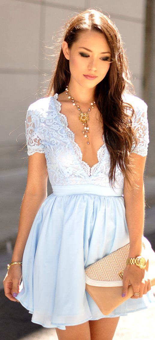Missguided Baby Blue Plunge V Neck Lace Top Skater Dress by Hapa Time
