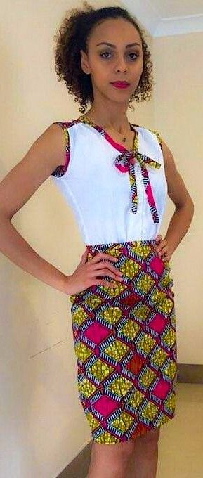 Hot Pink African Print Pencil Skirt and Bow Tie Top set. This fabulous hot pink…