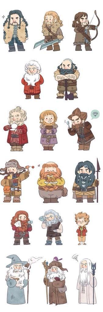 Thorin, Kili, Fili,  Balin, Dwalin,  Dori, Ori, Nori,  Bofur, Bombur, Bifer,  Gloin, Oin, Bilbo, Gandalf, Radagast, & Saruman.