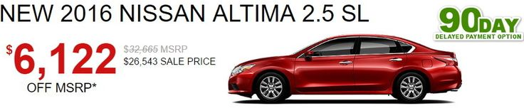 "www.cleanmpg.com/community/index.php?threads/53383  Automotive Hot Deal over the July 4th, 2016 Weekend – Nissan Altima SL for $6,122 off MSRP  A solid deal for a near fully loaded new 2016 Nissan Altima SL including the Tech Pkg. (7"" NAVI, #NissanConnect, Radar CC and Predictive Forward Collision Warning) and Power Roof with mats all around.  Efficient Long Distance Traveler - CleanMPG"