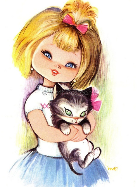Vintage Postcard Me and my Little Kitten, via Flickr.