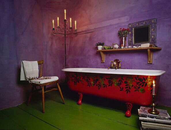 Eclectic Bathroom Photos Painted tub, sweet!