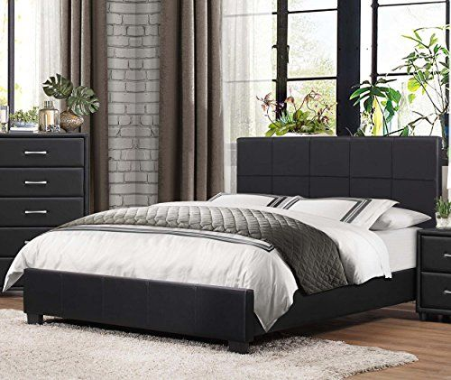 homelegance upholstered cal king platform bed frame w footboard and headboard faux leather black