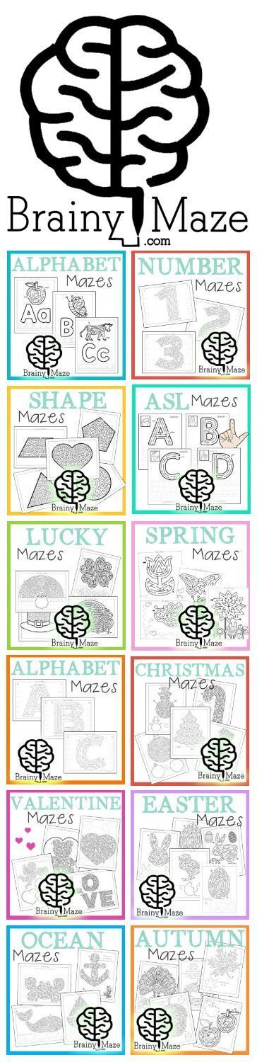 100+ Free Mazes for Kids. 6 increasing Levels of play to keep children challenged and building those brain cells! Thematic Maze Activity Worksheets including ABC's, Beginning Letters, Numbers, Shapes, Holidays and more! www.BrainyMaze.com