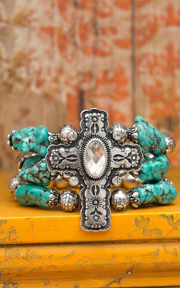 Silver Crystal Cross with Silver & Turqoise Beads Stretch Bracelet