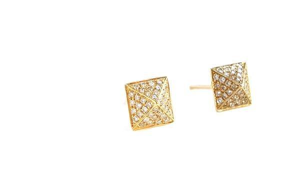 9a18a65ca Large Gold & Diamond Pyramid Earring - Designer Earrings - The EarStylist  by Jo Nayor