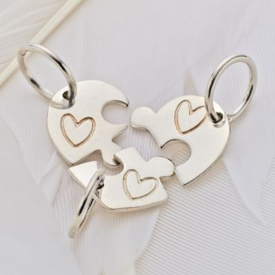 Palas Pendant Charm - HEART JIGSAW - Sterling Silver. Three little jigsaw pieces that combine to create a heart!