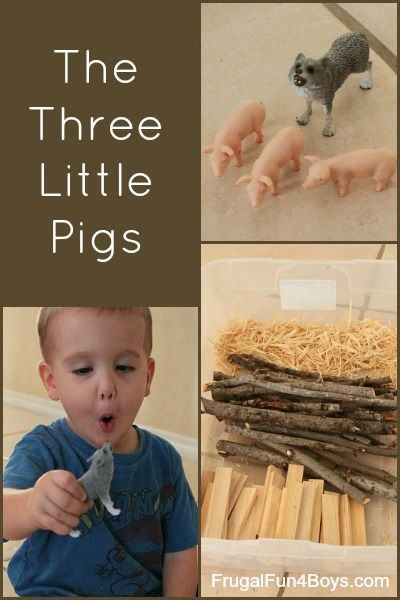 Pretend play for preschoolers with the story of the Three Little Pigs. Can't wait to see the big bad wolf!
