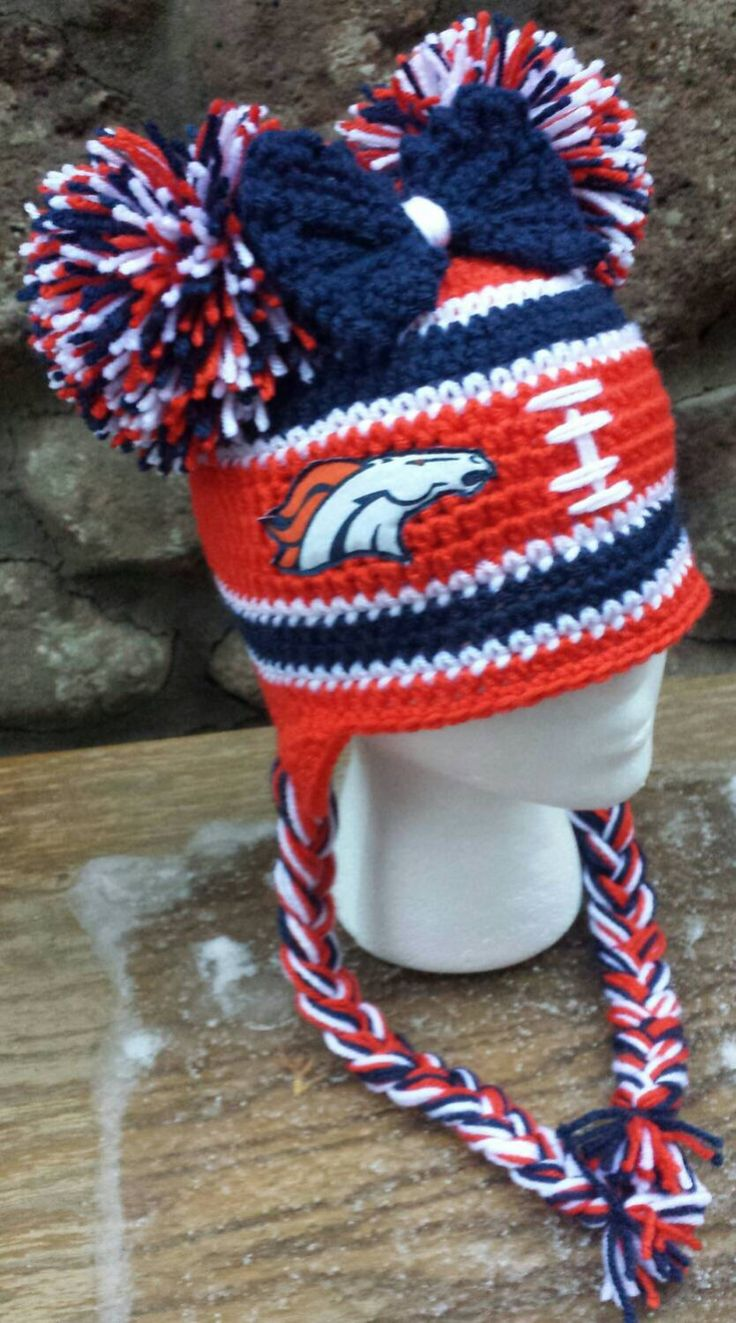 Denver Broncos Baby, Denver Broncos Kids, Denver Broncos Girls, Denver Broncos Women, Denver Broncos Cheerleader Hat, Crochet Winter Hat by AtTheLilyPond on Etsy https://www.etsy.com/listing/467789469/denver-broncos-baby-denver-broncos-kids